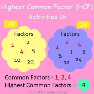 Highest Common Factor Worksheets 16 Highest Common Factor Worksheets 16