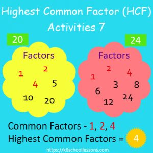 Highest Common Factor Worksheets 7 Highest Common Factor Worksheets 7