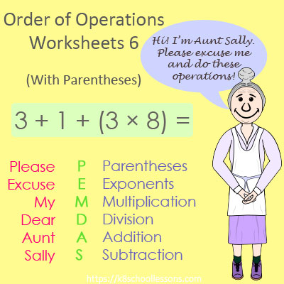 Order of Operations Worksheets 6 - With Parentheses