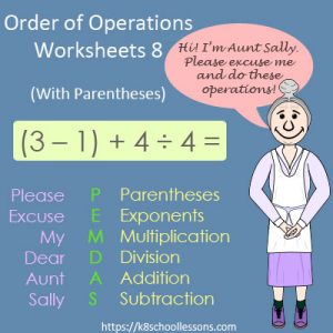 Order of Operations Worksheets 8 – With Parentheses Order of Operations Worksheets 8 – With Parentheses