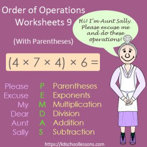 Order of Operations Worksheets 9 – With Parentheses Order of Operations Worksheets 9 – With Parentheses