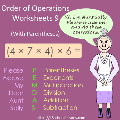 Order of Operations Worksheets 9 - With Parentheses