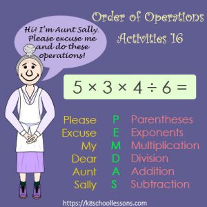 Order of Operations Activities 16