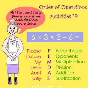 Order of Operations Activities 19 – No Parentheses Order of Operations Activities 19 – No Parentheses