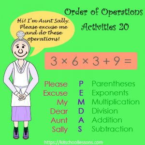 Order of Operations Activities 20 – No Parentheses Order of Operations Activities 20 – No Parentheses