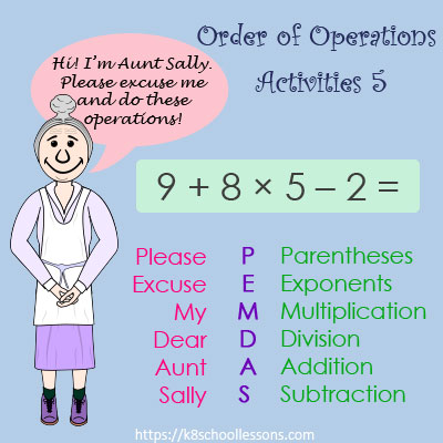 Order of Operations Activities 5 - No Parentheses