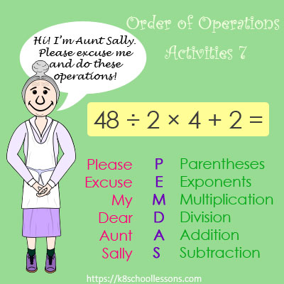 Order of Operations Activities 7 - No Parentheses