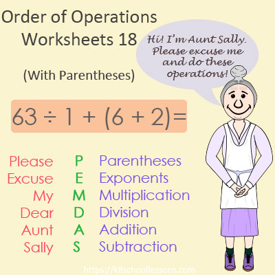 Order of Operations Worksheets 18 - With Parentheses