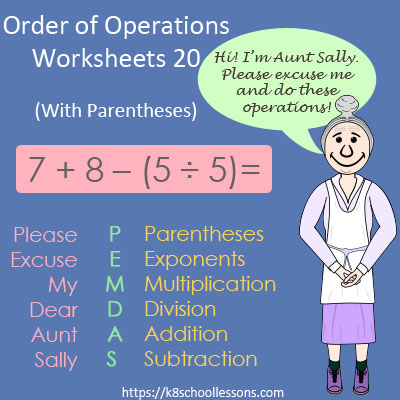 Order of Operations Worksheets 20 - With Parentheses