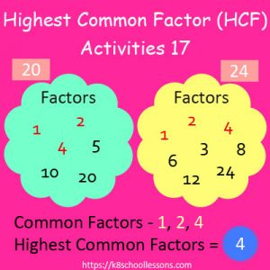 Highest Common Factor Worksheets 17