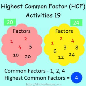 Highest Common Factor Worksheets 19