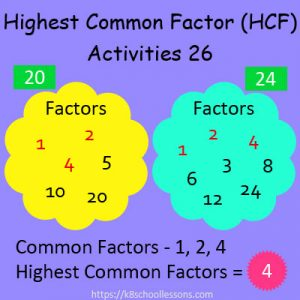 Highest Common Factor Worksheets 26 Highest Common Factor Worksheets 26