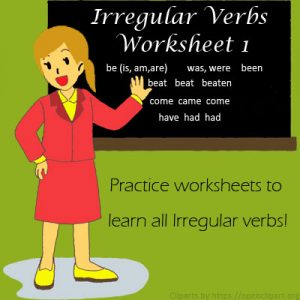 Irregular Verbs Worksheet 1 Irregular Verbs Worksheet 1