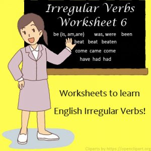 English Irregular Verbs Worksheet 6