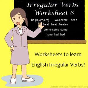Irregular Verbs Worksheet 10 Irregular Verbs Worksheet 6