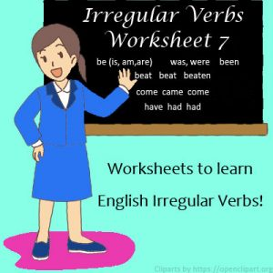 Irregular Verbs Worksheet 7