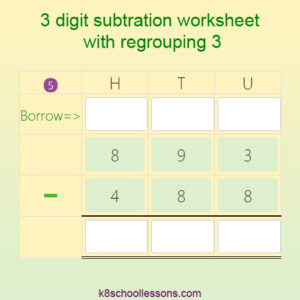 3 digit Subtraction worksheet with Regrouping 3 3 digit Subtraction worksheet with Regrouping 3
