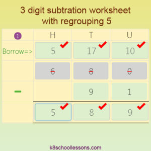 3 digit Subtraction worksheet with Regrouping 5 3 digit Subtraction worksheet with Regrouping 5
