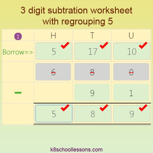 3 digit Subtraction worksheet with Regrouping 5