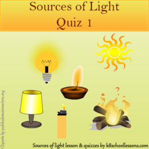 Sources of Light Quiz 1 Sources of Light Quiz 1